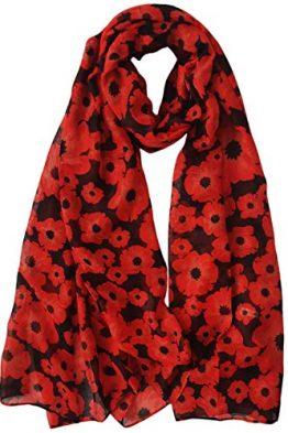 GlamLondon Poppy Print Scarf Red Perfect Poppies Flower Printed Fashion Ladies Womens Classy Big Wrap